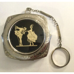 Early Dance Compact With Finger Ring Victorian Couple Dancing