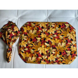 vintage*LEAVES fabric placemats & napkins*4 place settings