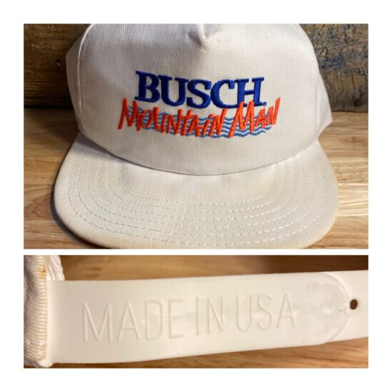 Vintage Busch Mountain Man white snapback cap hat Beer trucker Commercial 90's