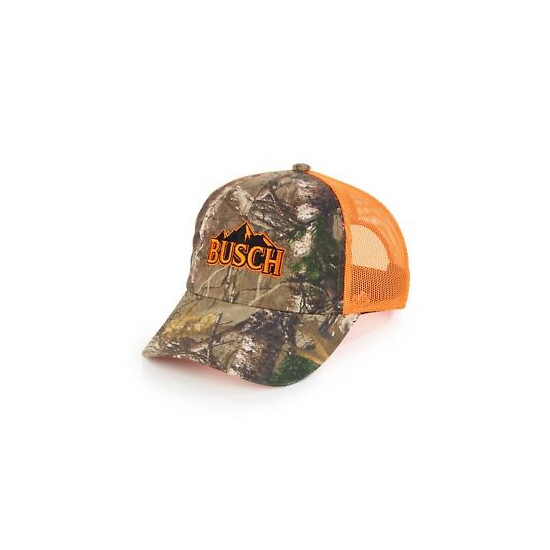 New AUTHENTIC Camo BUSCH BEER Hunting COTTON Hat Logo REALTREE Bud Light Orange