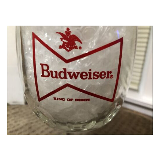 Vintage Budweiser Clear Glass Beer Goblet Red Bow Tie Classic Logo Never Used.