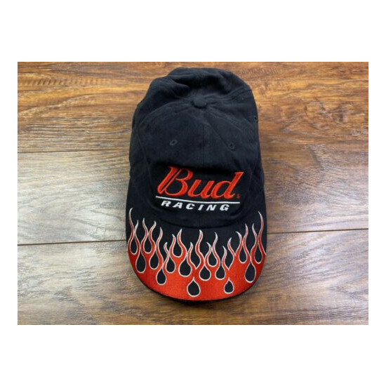 Budweiser Bud Racing Team embroidered flame Flexfit One Size Adult Hat Cap