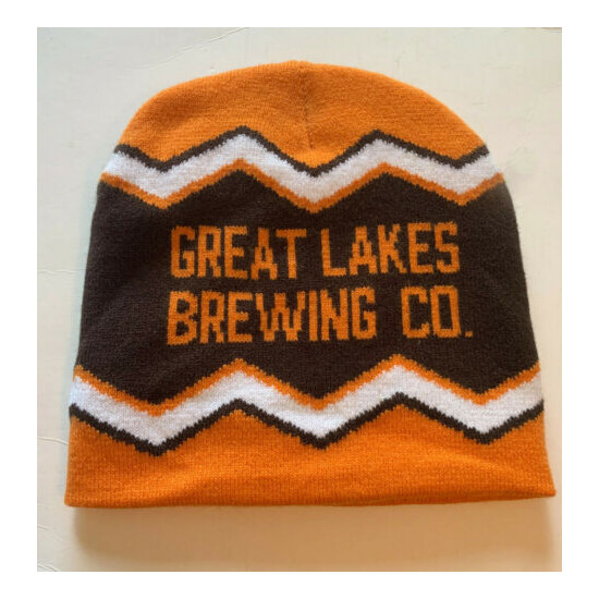 Great Lakes Brewing Co Winking Lizard Tavern Knit Hat Cap Orange and Brown