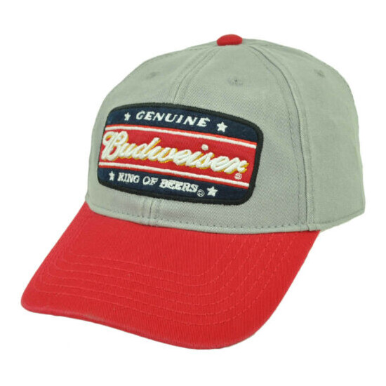 Genuine Budweiser Distressed Snapback King of Beers Relaxed Hat Cap Gray Red