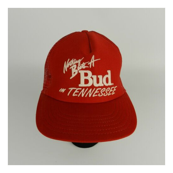Vtg Nothing Beats a Bud in Tennessee Budweiser Mesh Snapback Trucker Hat Cap O/S