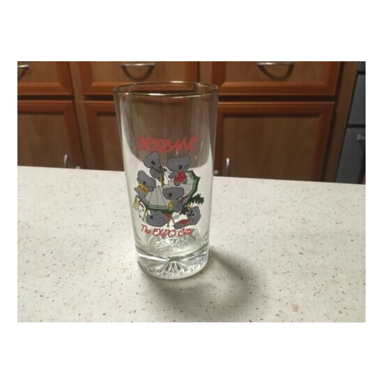 """""""BRISBANE. THE EXPO CITY"""" Drinking glass, pre loved in very good condition."""