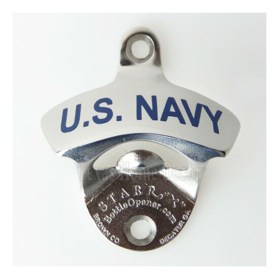 U.S. NAVY Beer Bottle Opener Polished Solid Stainless Steel Wall Mounted US Made