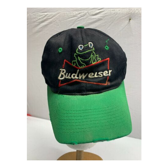 RARE VTG 90's 1995 Budweiser BEER Embroidered Snapback Dad Hat FROGS Ad
