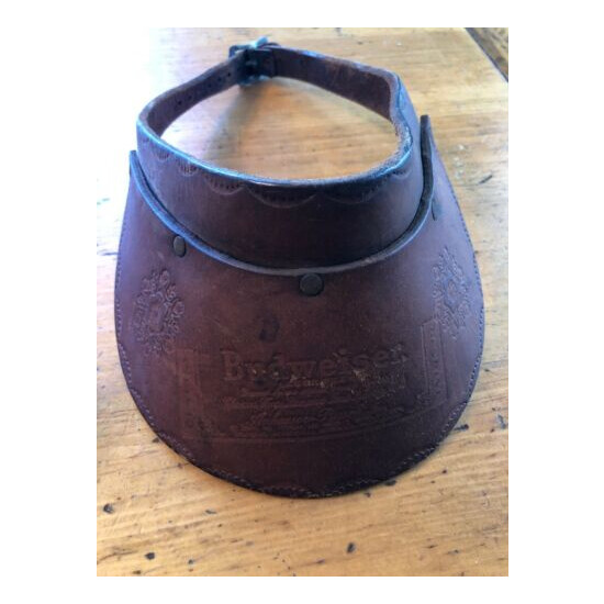 Vintage Collectible Budweiser Beer Classic Logo Embossed Leather Visor Cap Hat