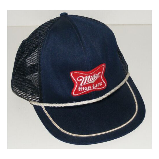 Miller High Life Beer Trucker Hat Red Patch Snapback Sz S/M USA Navy Blue Mesh