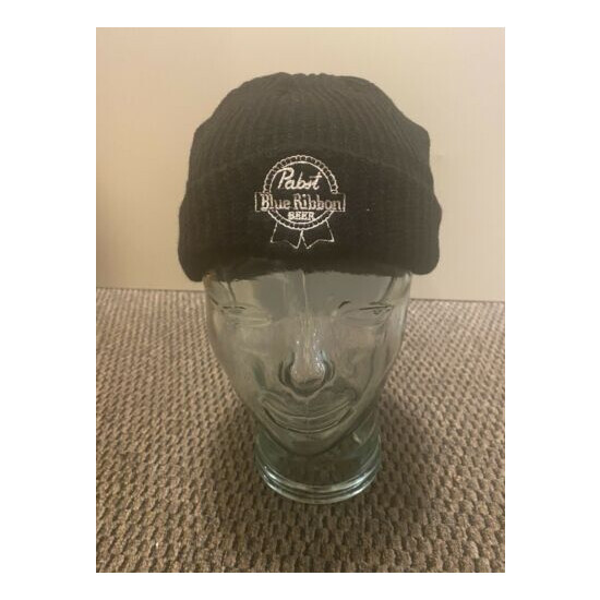 Pabst Blue Ribbon Embroidered Logo Beanie, PBR Black Knit Hat