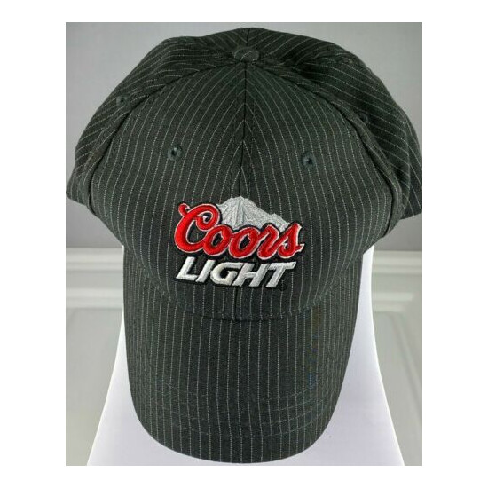 COORS LIGHT BEER MENS FLEX HAT LARGE/X LARGE SIZE RARE GRAY WITH PINSTRIPES USED