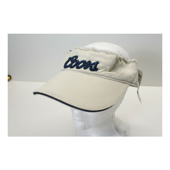 Coors Beer Light Banquel Navy Blue Beige Tan Distressed Visor Hat New with Tags