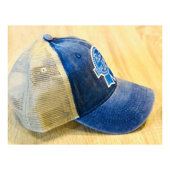 PBR Hat Pabst Blue Ribbon Beer Embroidered Patch Cap American Mesh Distressed