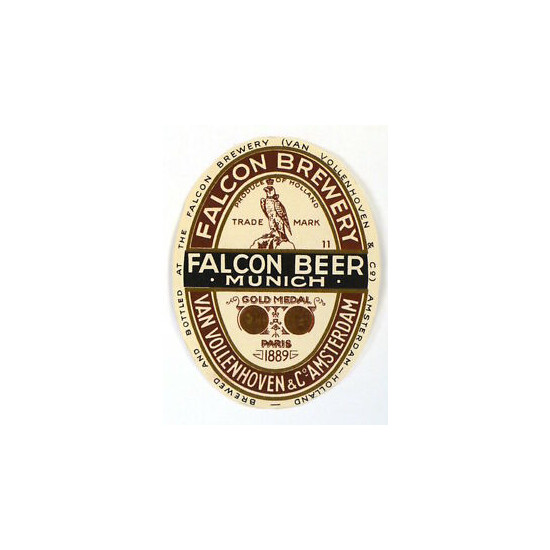 Tough Early Netherlands Falcon Munich Beer Unused label Tavern Trove