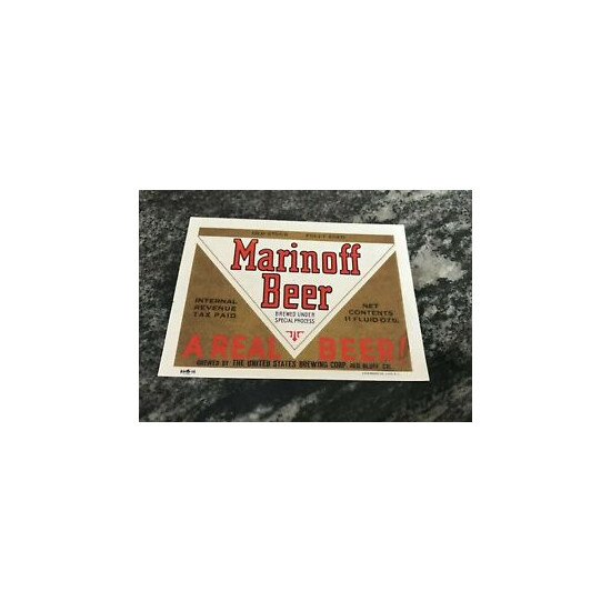 VINTAGE IRTP MARINOFF BEER 11OZ BOTTLE LABEL UNITED STATES BREWING RED BLUFF C A