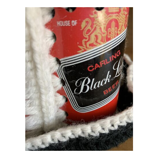 FUNKY 1970s Crochet Black Label Beer Can Hat Carling Brewing Co 70s Retro Hip