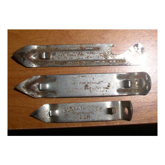 VINTAGE LOT OF 3 BEER CAN OPENERS KEGLINED ROLLING ROCK STROHS
