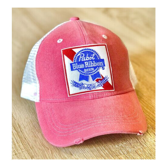 PBR Beer Pabst Blue Ribbon Embroidered Patch Style Hat Cap Mesh Distressed ????????