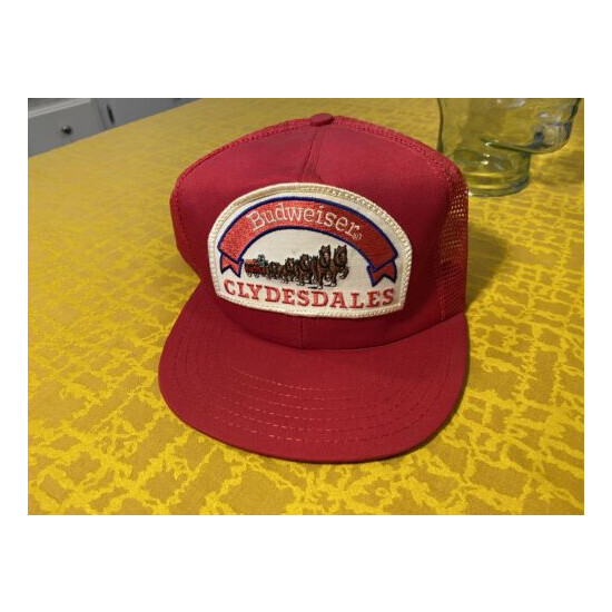 Vintage Budweiser Clydesdales Patch Hat Red Cap Snapback 70-80s Trucker Made USA