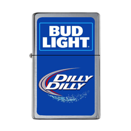 Bud Light Dilly Dilly Flip Top Lighter Brushed Chrome with Vinyl Image.